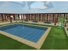 Atkurtame kiemelyje su baseinu galėtų būti eksponuojamos A.Žulkaus skulptūros. G.Grišmanauskaitės vizualizacijos.