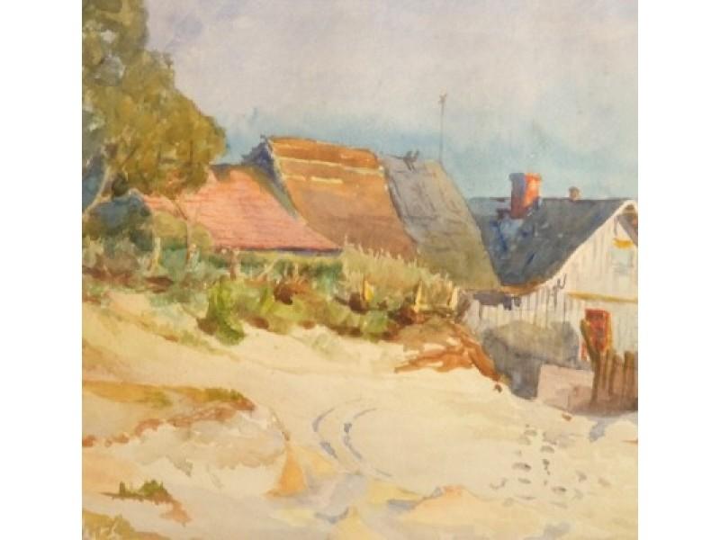 K. Sklėrius (1876-1932). Peizažas su pajūrio sodyba.
