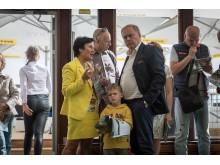 """Dėmesiu pamalonino puikiai nusiteikęs sveikatos centro """"Energetikas"""" valdybos pirmininkas Gintautas Matulevičius su žmona."""