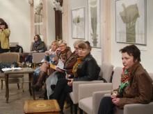 Palangos kultūros bendruomenė įdėmiai klausėsi pristatymo.