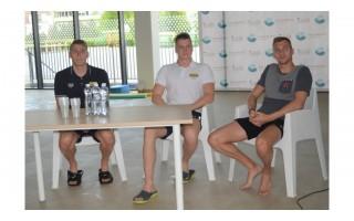 Palangos baseine – kurorto moksleivių susitikimas su Lietuvos olimpiečiais D. Rapšiu, A. Šidlausku bei D. Margevičiumi