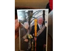 Jurgis Poška ir šviesaus atminimo mylima žmona Stefa tuoktuvių dieną ir po  metų minint auksinių vestuvių metines.