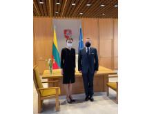 Meras Šarūnas Vaitkus su Seimo pirmininke Viktorija Čmilyte-Nielsen