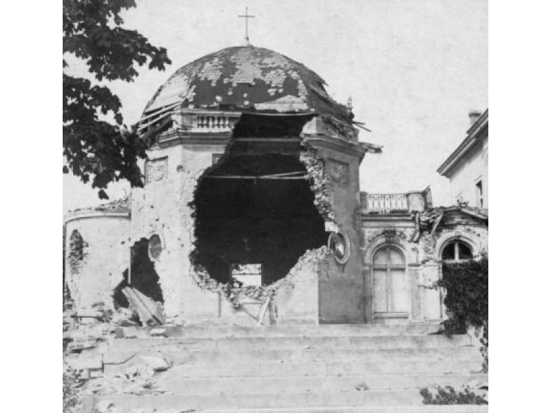 Pirmojo pasaulinio karo metu apgriauta Tiškevičių rūmų koplyčia.