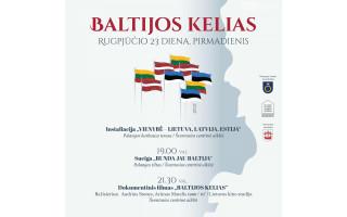 Baltijos kelias: trijų Baltijos valstybių vėliavų instaliacija Palangoje ir Šventojoje