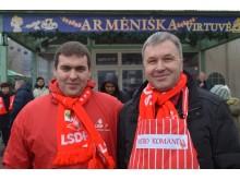 LSDP Palangos skyriaus nariai Artūras Sabaliauskas (kairėje) ir Aleksandras Jokūbauskas