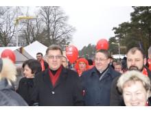Premjerą A. Butkevičių lydėjo meras Šarūnas Vaitkus ir LSDP skyriaus pirmininkas Danas Paluckas.