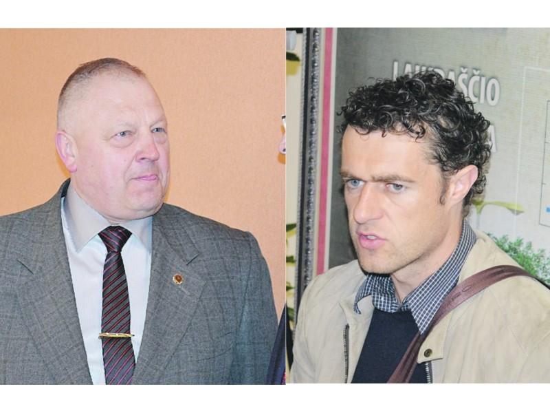 (Iš kairės) Viešosios tvarkos skyriaus vedėjas P. Keinys ir verslininkas Darius Miklovas
