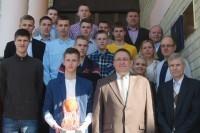 Pagerbti Lietuvos čempionais tapę jaunieji Palangos krepšininkai