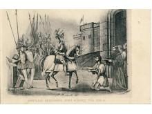 """Užrašas po atviruku: """"Karalius Gedeminas jema Kijavos pyli 1318 m."""