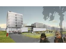 """Detaliojo plano ir jo koncepcijos rengėjai taip matė kompleksą """"Sanitas per aqua"""". / """"Vakarinio fasado"""" vizualizacija."""