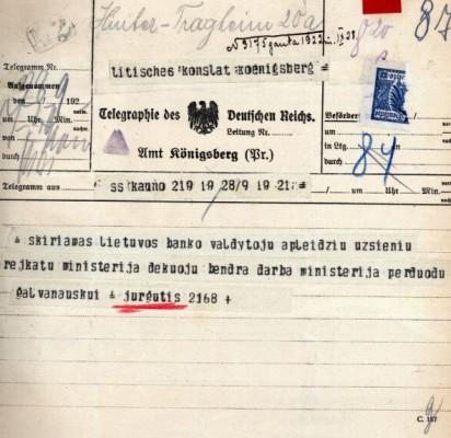 V. Jurgučio telegrama, kuria jis praneša apie jo paskyrimą Lietuvos banko valdytoju 1922 rugsėjo 28 d.