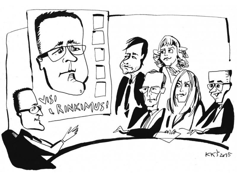 """""""Kolegos, šiame konservatorių rinkimų plakate palikta vietos ir jūsų portretams!"""".Piešinys Kęstučio Šiaulyčio"""