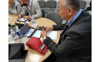 Tarybos narys E. Židanavičius į posėdį atsinešė bokso pirštinę