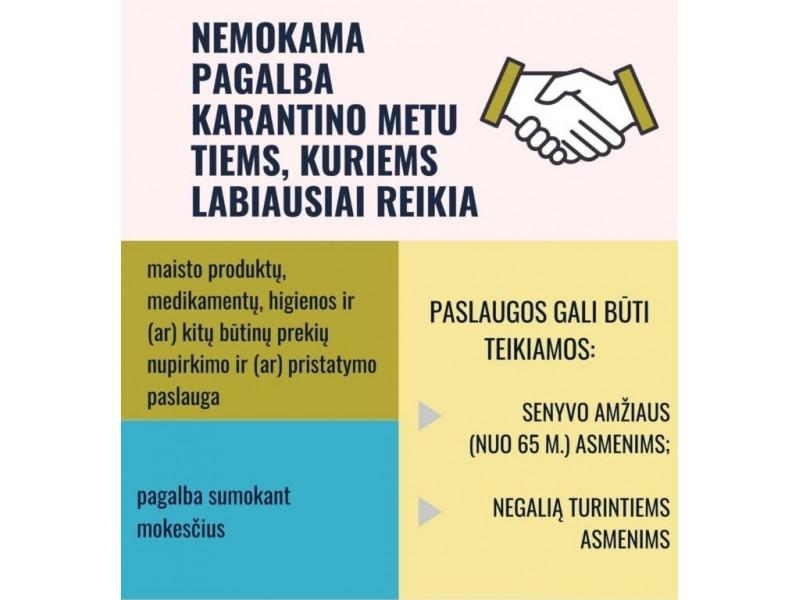 Nemokamos paslaugos rizikos grupei priklausantiems gyventojams – būtinųjų prekių nupirkimas, pagalba sumokant mokesčius