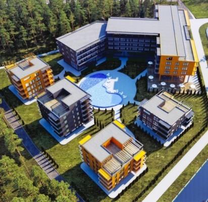 """Apie 100 milijonų litų kainuosiančio viešbučio bei SPA komplekso statybas tikimasi pradėti 2015-ųjų pavasarį. Įmoniųgrupės """"Inter Ikea"""" architektų priešprojektinių pasiūlymų vizualizacija."""
