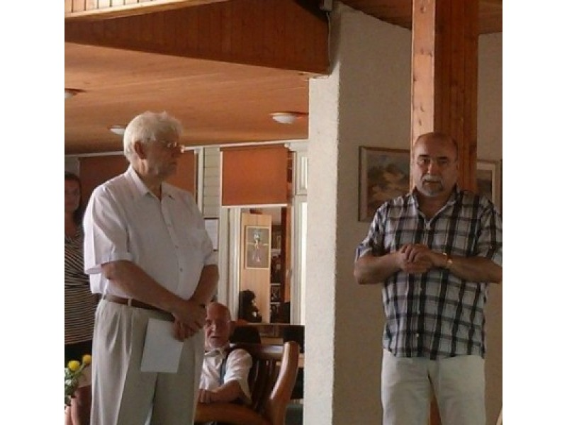 Renginį vedęs V. Litvaitis ir A. Čepio krikštasūnis K. Čepys.
