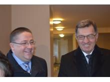 Meras Šarūnas Vaitkus ir premjeras Algirdas Butkevičius buvo gerai nusiteikę – apsilankę Kurhauze skubėjo į Vasaros estradą.