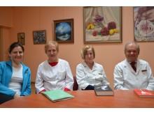 Iš kairės: Palangos Reabilitacijos ligoninės kinezeterepeutė Dalia Bumblauskytė, gydytoja Audronė Staugaitienė, vyriausioji reabilitologė Jūratė Jakubauskienė, ligoninės direktorius Virginijus Biskys.