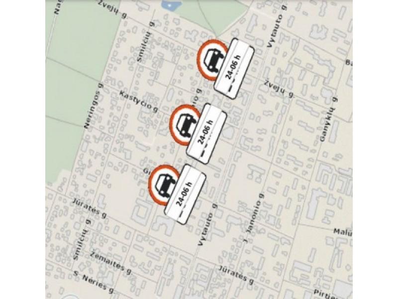 Schema, kuria siūloma vasarą uždrausti automobilių eismą nuo Vytauto g. link jūros nuo 24 val. iki 6 val.